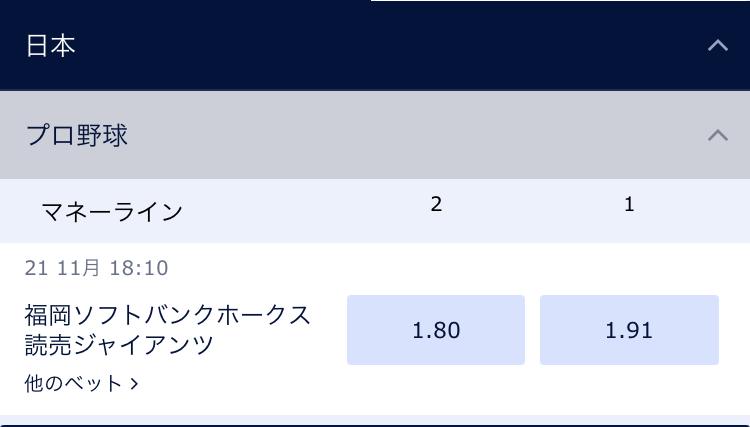 ウィリアムヒルが予想する日本シリーズ2020