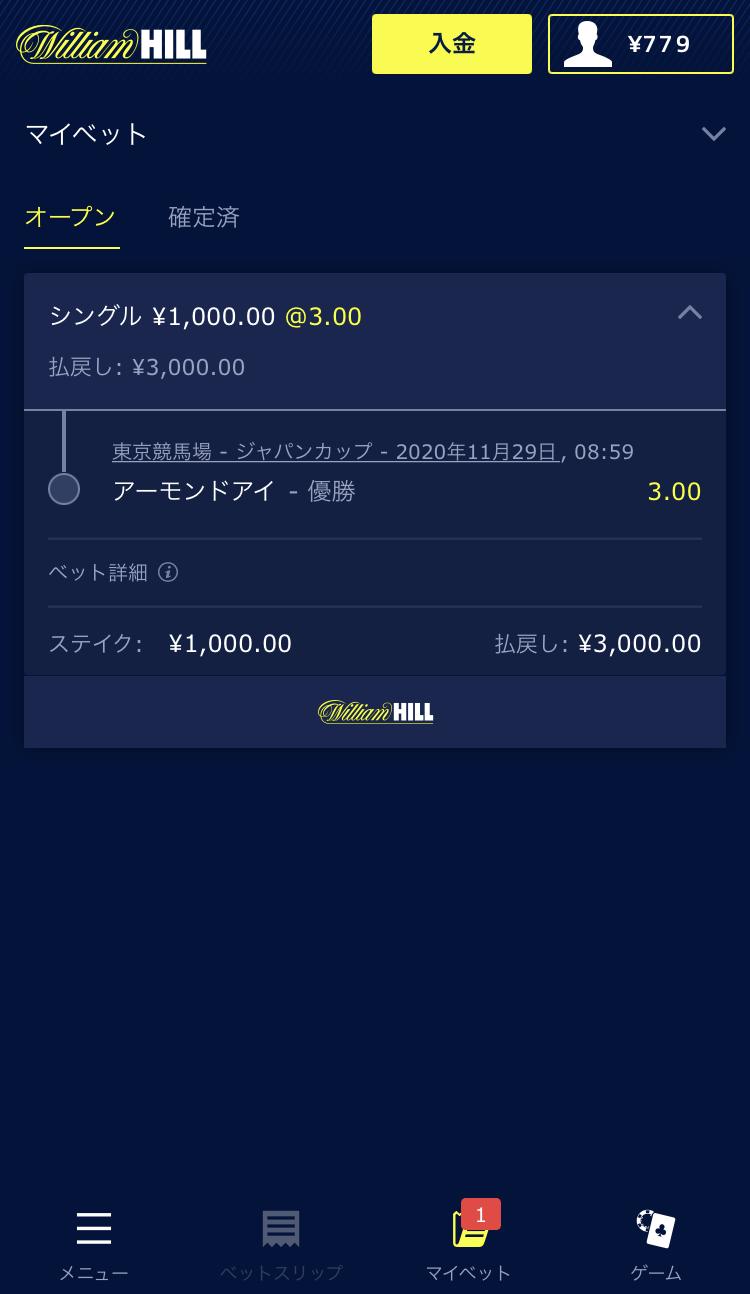ブックメーカーウィリアムヒルのジャパンカップの賭け方