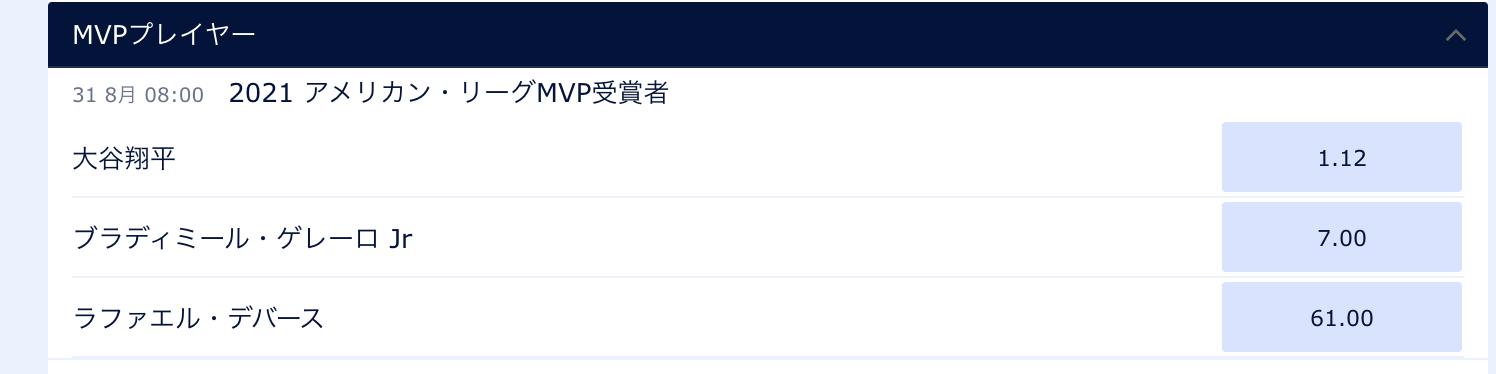 大谷翔平アメリカンリーグMVPオッズ